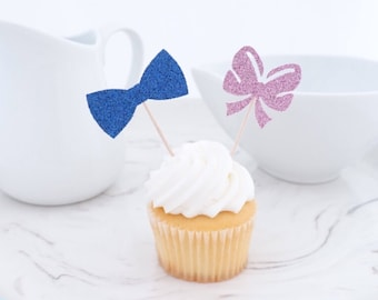 Gender Reveal Party Decorations, (12 ct), Bows or Bow Ties Party, Gender Reveal Party, Gender Reveal Ideas, Boy or Girl Cupcake Toppers