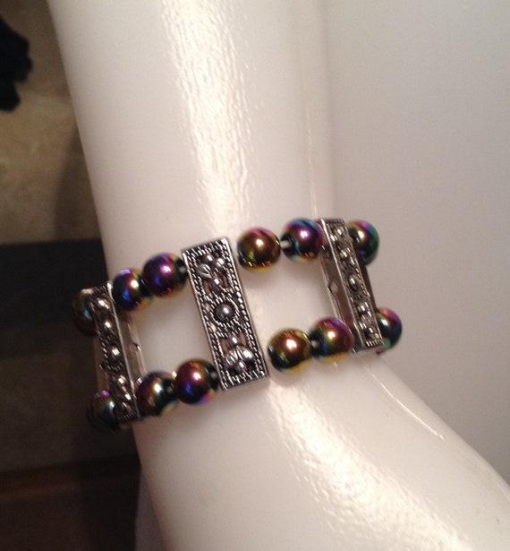Iridescent Magnetic Hematite bead bracelet