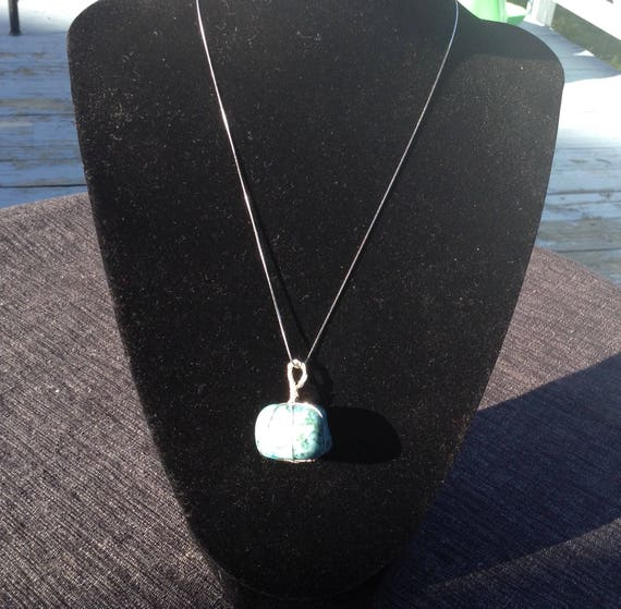 Turquoise gemstone and sterling silver necklace