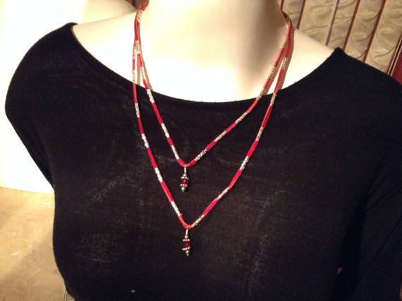 Red suede lace charm necklace
