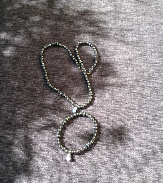 Magnetic hematite bead set with charms