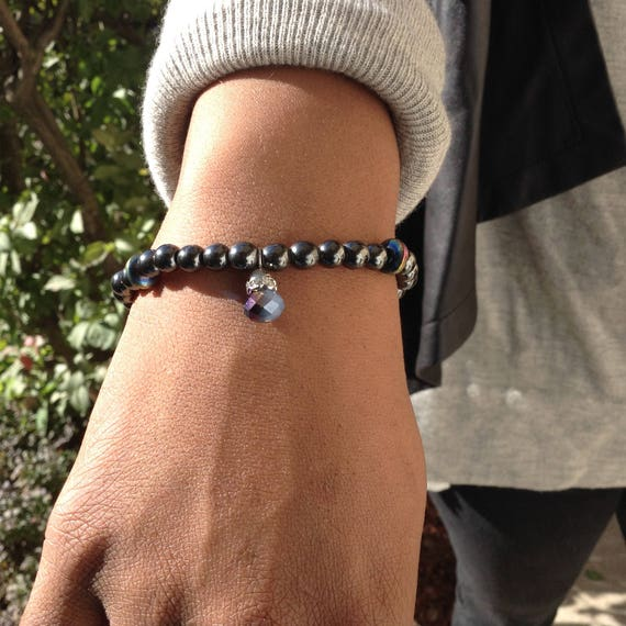 Magnetic hematite bead bracelet