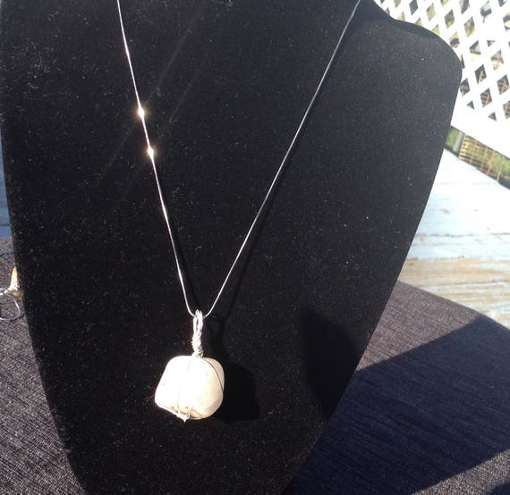 Cloudy quartz gemstone with sterling silver necklace