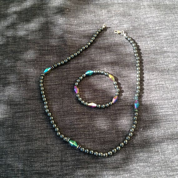 Magnetic hematite  necklace and bracelet set