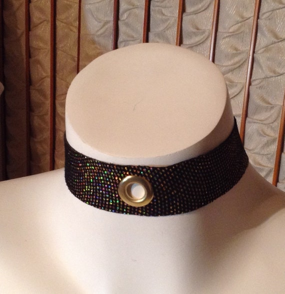 Iridescent leather, choker