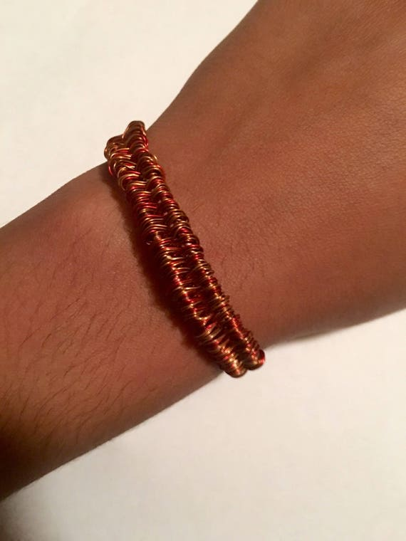 Red copper weaved bracelet