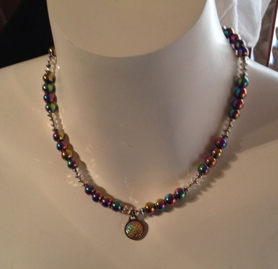 Iridescent magnetic hemitite bead necklace