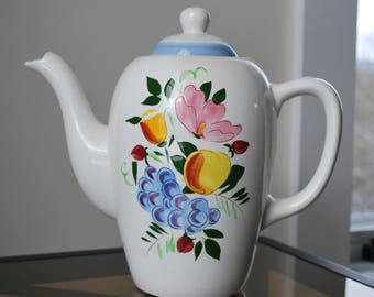 Stangl Fruit and Flowers 8 Cup Coffee Pot - #4030 - Mid Century Dinnerware