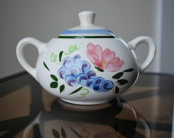 Stangl Country Fruit and Flowers Sugar Bowl - #3943 - Mid Century Dinnerware