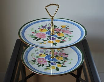 """Stangl Fruit and Flowers Two Tier 10"""" Tidbit Tray - #4030 - Mid Century Dinnerware"""