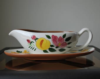 Stangl Fruit and Flowers Gravy boat and Underplate - #4030 - Mid Century Dinnerware