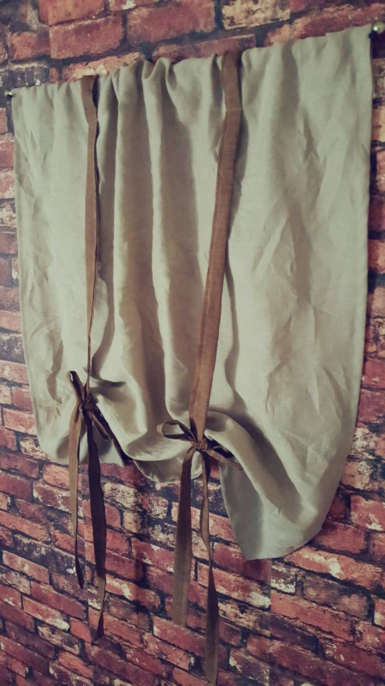Tenda della cucina tende di lino Cottage tende grigio | Etsy