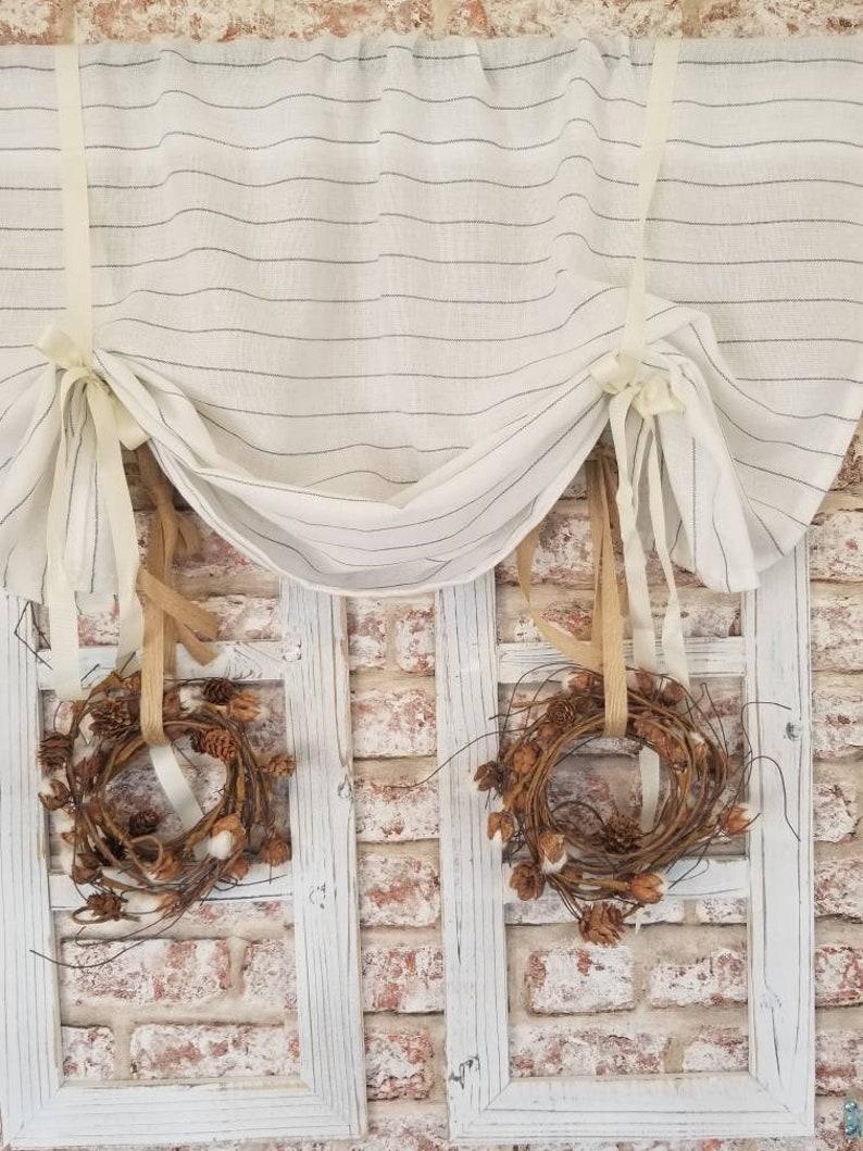 Kitchen Curtains, Striped Curtains, Linen Curtains, Farmhouse Curtains,  Cafe Curtains, Beige Curtains, Cottage Curtains, Kitchen valance
