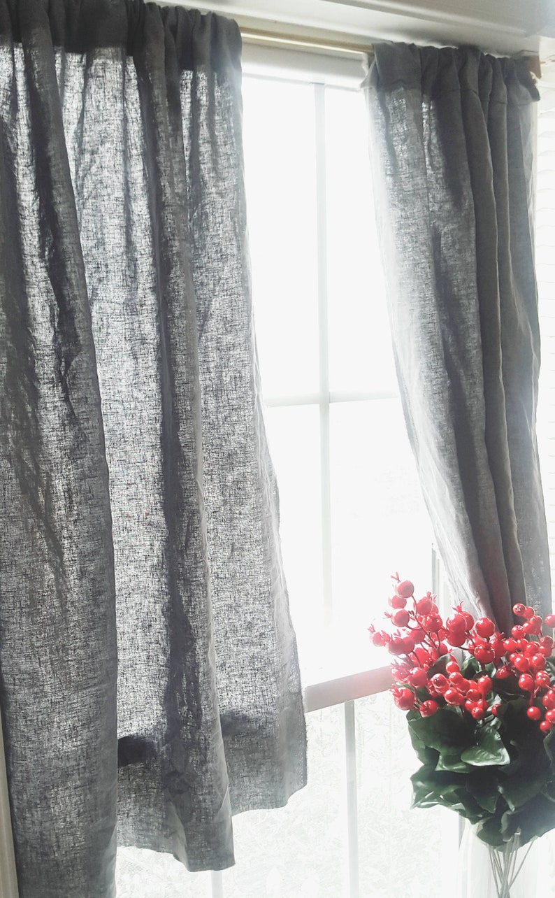 Cafe Kitchen Curtains, Linen Curtains, Farmhouse Curtains, Bedroom  Curtains, Kitchen Curtains, Linen Gray Curtains, Two Window Panel,