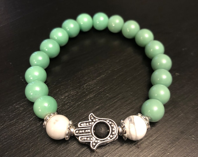Aqua glass beaded bracelet with Hamsa hand
