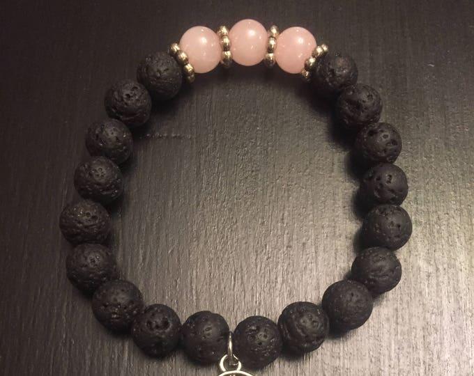 Healing rose quartz lava stone bracelet