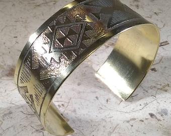 Brass Wrist Cuff with Native American Design, Wrist Cuff