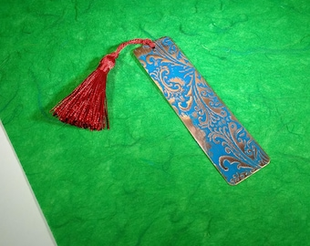Scroll-Patterned Copper Bookmark with blue patina