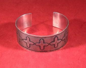 Zia Sun (New Mexico) Symbol Etched into Nickel Wrist Cuff