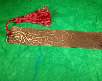 Scroll-Patterned Brass Bookmark