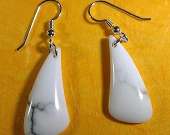 Irregular-shaped Howlite (White Turquoise) Loop Earrings, Howlite Drop Earrings, Howlite Dangle Earrings