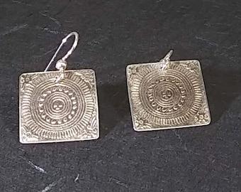 Mayan Design on Sterling Silver Earrings
