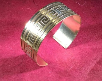 Brass Wrist Cuff with Aztec Design, Native American Design Etched into Brass, Wrist Cuff