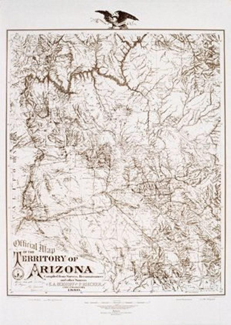 Map Of Arizona 1880.1880 Reproduction Map Of Arizona Territory Laminated Map Wall Map 1880
