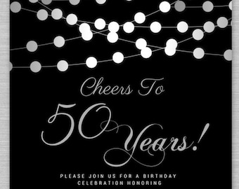 50th birthday invitation etsy black and silver 50th birthday invitation any agewording 50th birthday invitations cheers to 50 cheers to 50 invitation any age filmwisefo