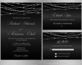 Schwarz Und Silber Hochzeitseinladung, Hochzeit Einladung Schwarz, Hochzeits  Einladung Suite, Hochzeitseinladung Druckbare Set