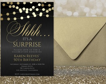Surprise invitation etsy shhh surprise party any age surprise birthday invitations for women shhh its a surprise invitation surprise birthday party invitations filmwisefo