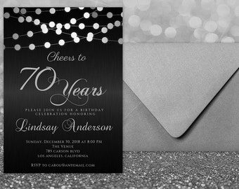 ANY AGE Cheers To 70 Years Birthday Invitations 70th Invitation Man For Women Black And Silver