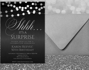 Shhh Surprise Party ANY AGE Birthday Invitations For Women Its A Invitation