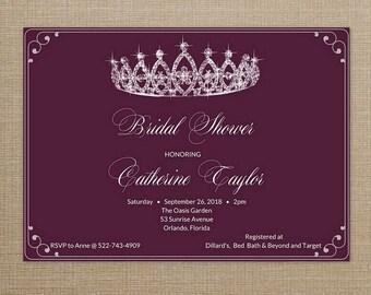 Princess Bridal Shower Digital Invitation, Bridal Shower Invite, Crown Invitation, Bridal shower Invitation Printable