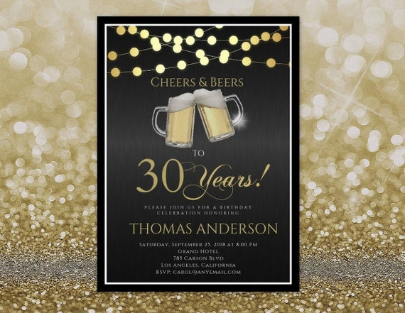 ANY AGE Cheers And Beers Birthday Invitation To 30 Years 40 50 60 Adult