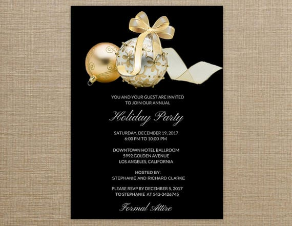 Christmas Party Invitation Black And Gold Holiday Invitations