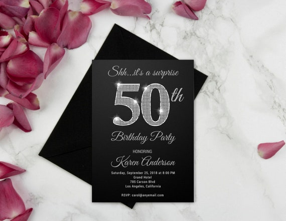 ANY AGE Surprise 50th Birthday Party Invitations For Women Black And Silver
