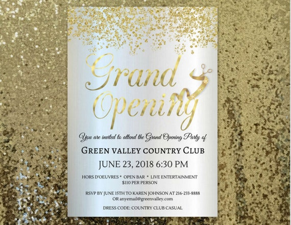 gold grand opening invitation grand opening invitations for etsy