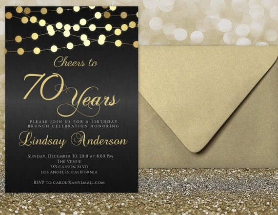 ANY AGE Cheers To 70 Years Invitations 70th Birthday