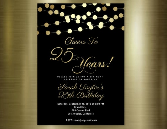 Cheers to 25 Years Invitation, ANY AGE, Cheers to 25 Years, 25th Birthday Invitation, Birthday Invitations, Printed Invitations Birthday. MV WEDDING DESIGNS