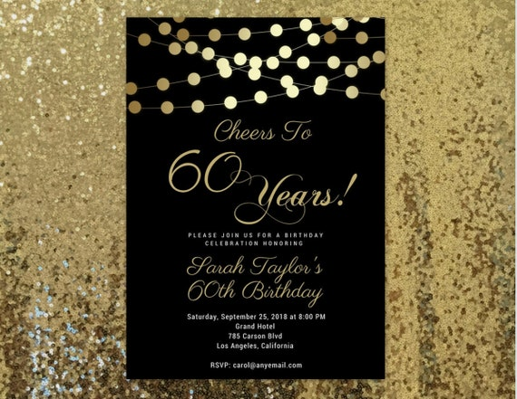 ANY AGE Cheers To 60 Years Invitation 60th Birthday