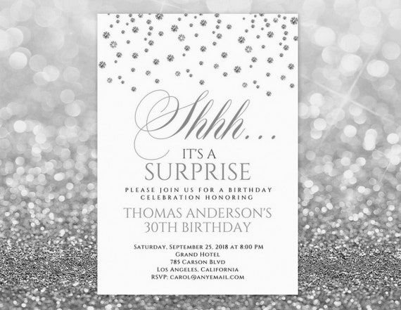 Shhh Its A Surprise Invitation ANY AGE Birthday For Men Women Shh