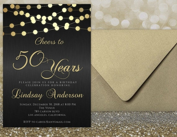 50th Birthday Invitation For Women Printable Cheers To 50 Years Invitations Digital