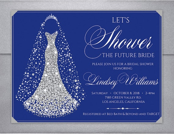 Wedding Invitations Royal Blue And Silver: Dress Bridal Shower Invitation Shower The Bride Invitation