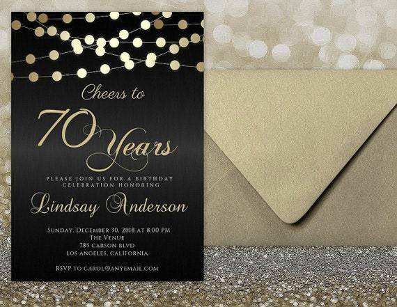 ANY AGE Cheers To 70 Years Invitations 70th Birthday Invitation Man For Women Male