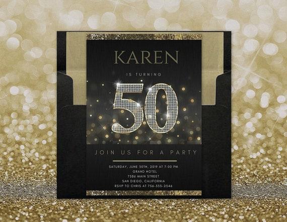 ANY AGE 50th Birthday Invitation For Women Invites Her Elegant Invitations