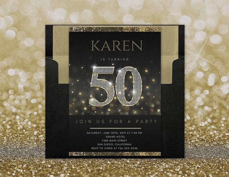 ANY AGE 50th Birthday Invitation For Women