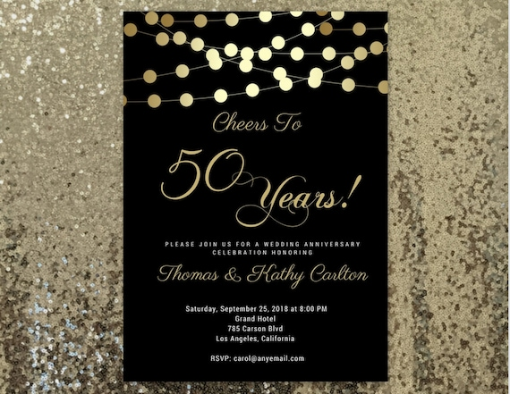 ANY AGE Cheers To 50 Years Invitation 50th Birthday For