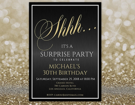 any age surprise 30th birthday invitation for him surprise