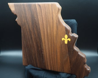 Missouri State, St Louis, Cutting Board, Walnut with Osage Orange Fleur De Lis